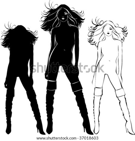 Vector black silhouettes of beautiful woman isolated on white background