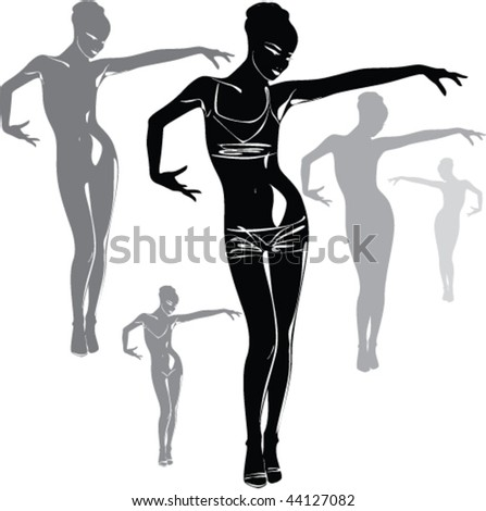 Vector black silhouettes of beautiful woman on white background