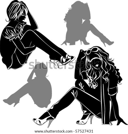Vector black silhouettes of beautiful women sitting on white background