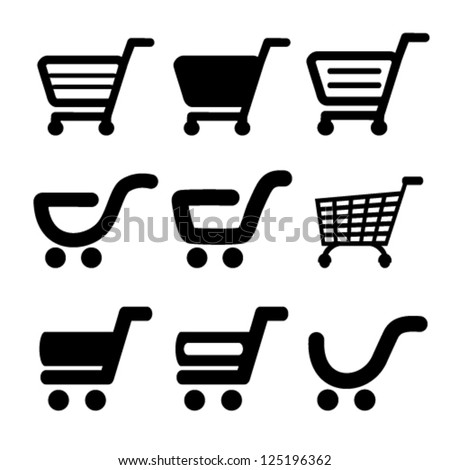 Vector black simple shopping cart, trolley, item, button - stock vector