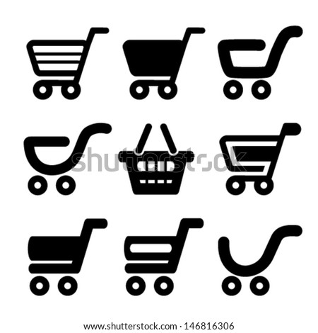 Vector black simple shopping cart, trolley, item, button