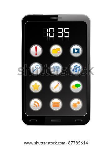 Vector Black Smartphone - stock vector