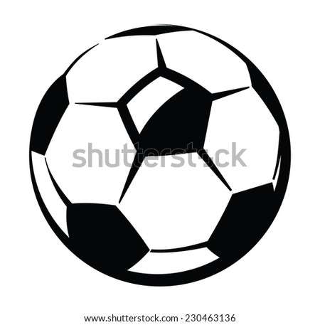 vector black Soccer ball icon on white - stock vector
