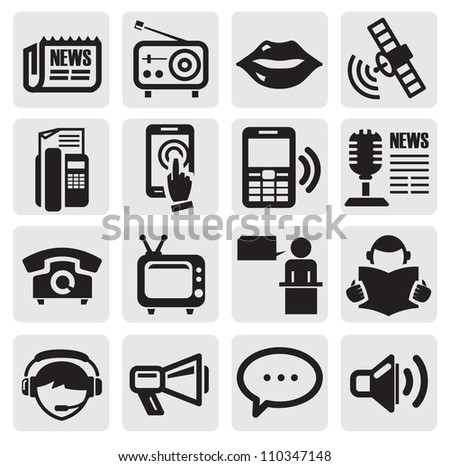 vector black social media icons set on gray