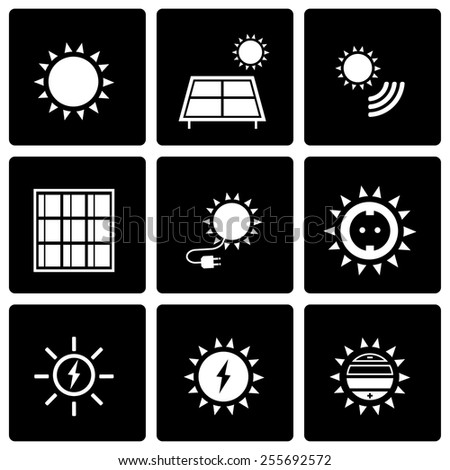 Vector black solar energy icon set on black background