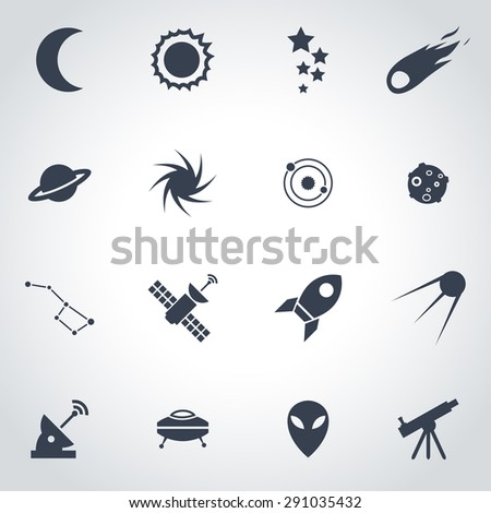 Vector black space icon set on gray background