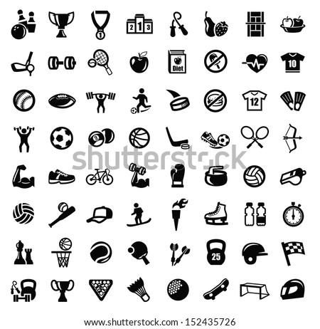 vector black sport icons set on white - stock vector