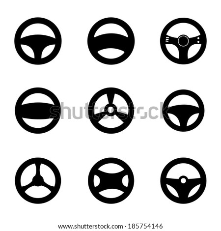Vector black Steering wheels icons set on white background - stock vector