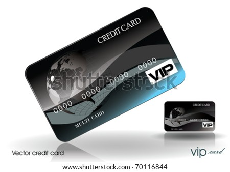 Vector Black Style Credit Card - stock vector