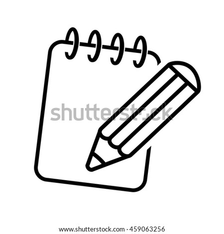 Vector black symbol of notepad. Icon of pencil with writing pad. Line design.