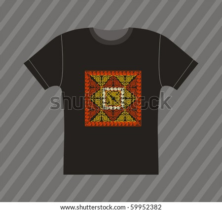 Vector black T-shirt design with ornamental pattern