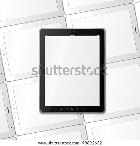 Vector black tablet on background for few white tablets. EPS10. Used effect transparent layers of shadow from black frame - stock vector