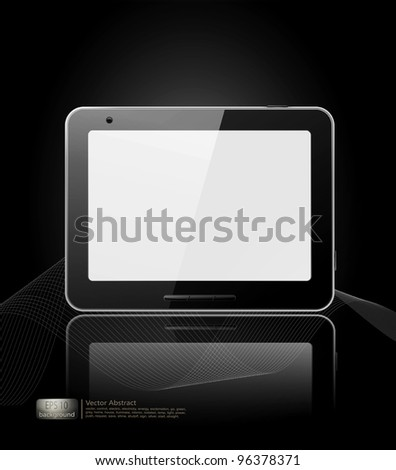 vector black tablet pad with a white screen and a reflection on a black background. - stock vector