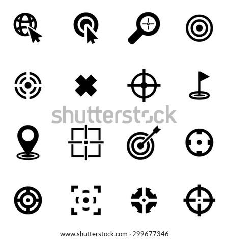 Vector black target icon set - stock vector