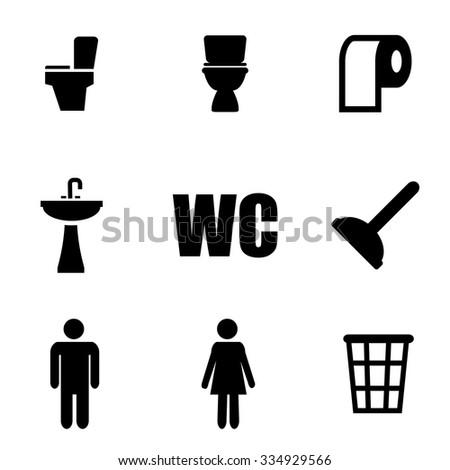 Vector black toilet icon set. Toilet Icon Object, Toilet Icon Picture, Toilet Icon Image, Toilet Icon Graphic, Toilet Icon JPG, Toilet Icon EPS, Toilet Icon AI - stock vector - stock vector