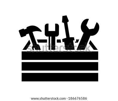 vector black toolbox with tools icon on white - stock vector