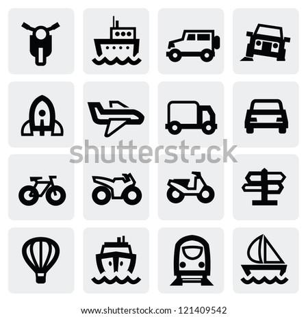 vector black transportation icon set on gray - stock vector