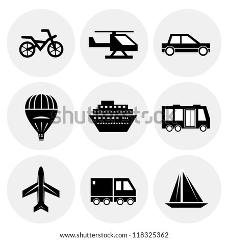 Vector black transportation icons. Icon set - stock vector