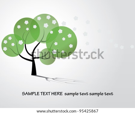 Vector black tree stylized with flowers - stock vector