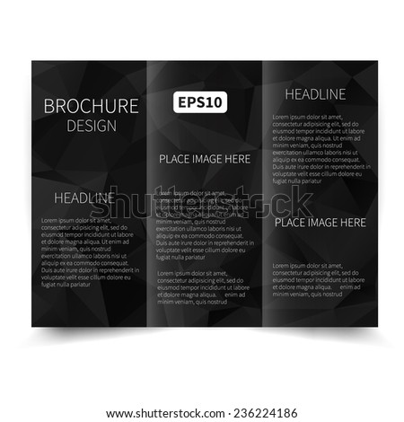 Vector black tri-fold brochure design template with abstract geometric background. Tri-Fold Mock up & back Brochure Design with triangles. Vector design illustration EPS10 - stock vector