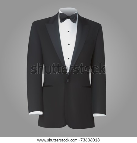 vector black tuxedo dinner jacket - stock vector