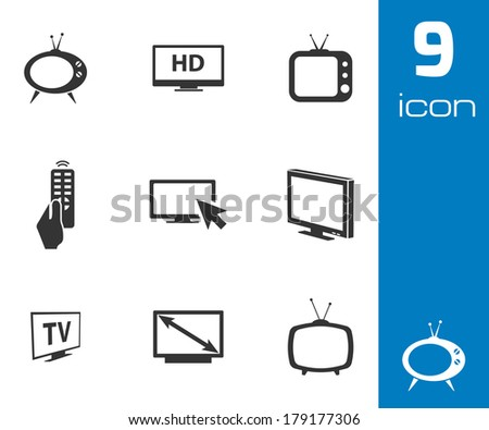 Vector black TV icons set on white background - stock vector