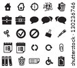 Vector black universal web icons set on white - stock vector