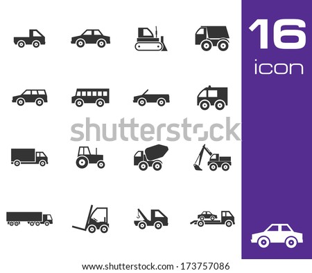Vector black vehicle icon set on white background - stock vector