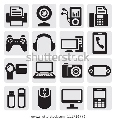 vector black video and audio icons set - stock vector