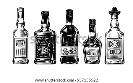 vector black vintage bottles of alcohol icon on white