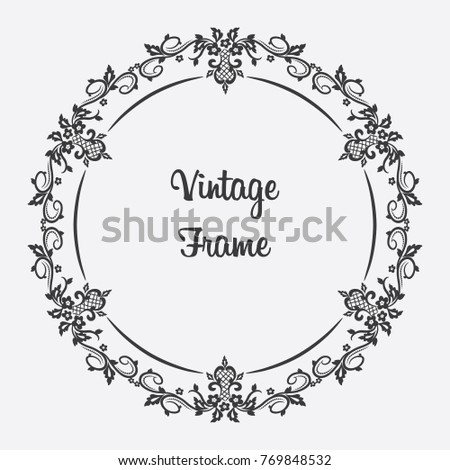Vector Black Vintage Frame With Floral Ornament And Elegant Border Format Eps10