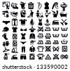 vector black washing signs and clothes icon set - stock vector