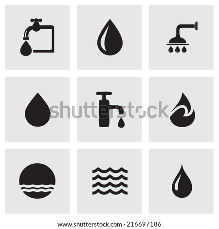 Vector black water icons set on grey background - stock vector