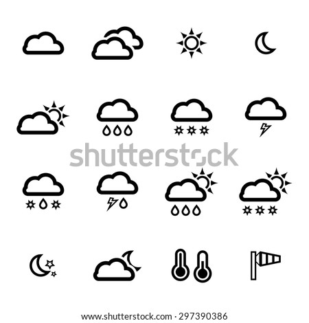 Vector black weather icons set on white background