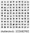 vector black 100 web icons set on gray - stock photo