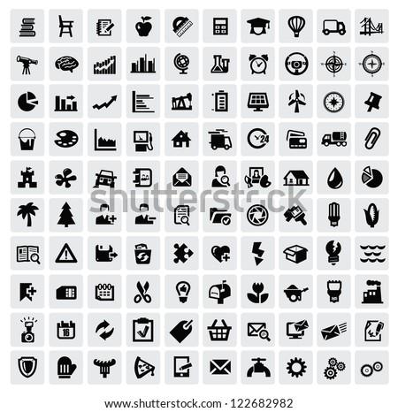 vector black 100 web icons set on gray - stock vector