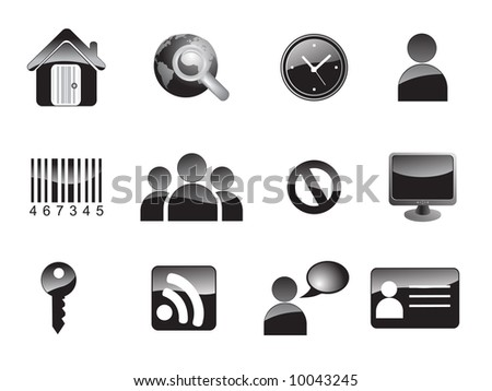 Vector black website and internet icons - stock vector