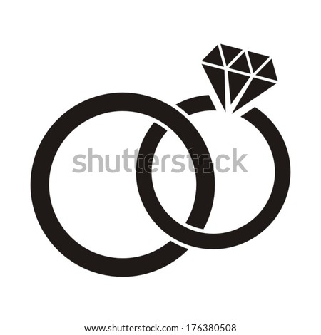 Vector Black Wedding Rings Icon On Stock Vector Royalty Free