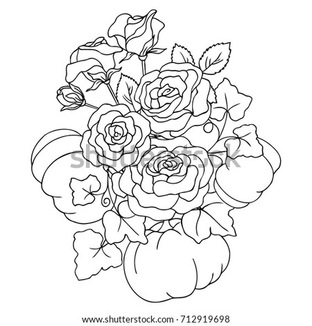 Vector black white contour simple illustration stock vector vector black white contour simple illustration of rose flowers bouquet with pumpkin mightylinksfo Choice Image