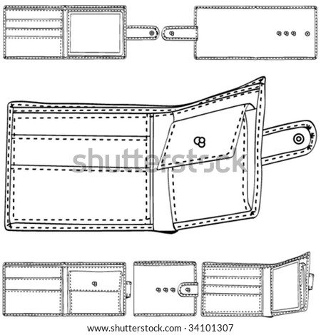Vector black&white wallet - few kinds of it - stock vector