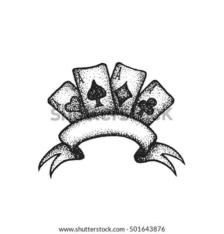 vector black work tattoo dot art hand drawn engraving style four aces suit of playing cards blank ribbon illustration isolated white background