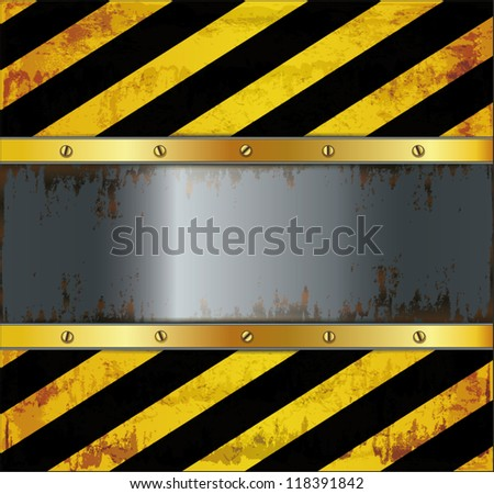 vector blackboard caution board metal rusty