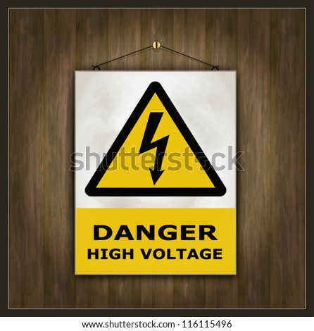 vector blackboard sign danger high voltage wood - stock vector