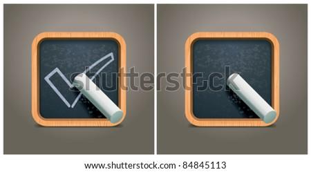Vector blackboard square icon - stock vector