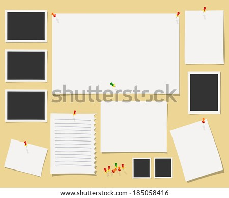 Vector blackboard with office supplies. - stock vector