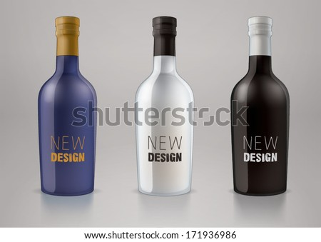 Vector blank alcohol bottles for new design liquor or port wine. Sketch style - stock vector