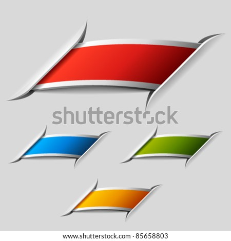 vector blank attached ribbon labels - stock vector