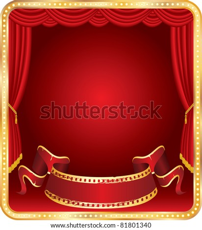 vector blank banner on stage with red curtain - stock vector