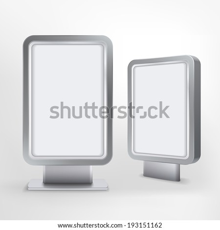 vector blank billboard and lightbox on white background  - stock vector