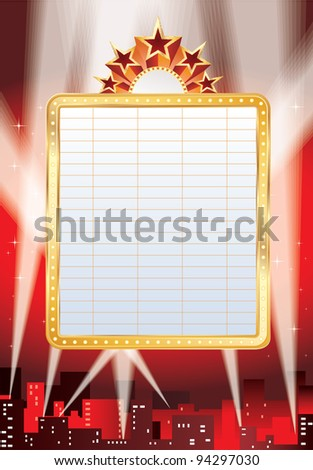 vector blank billboard and spotlights in the city - stock vector